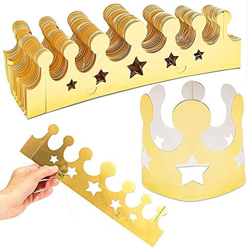 Gold Foil Paper Party Crown Hats (3.3 x 3 Inches, 48-Pack)