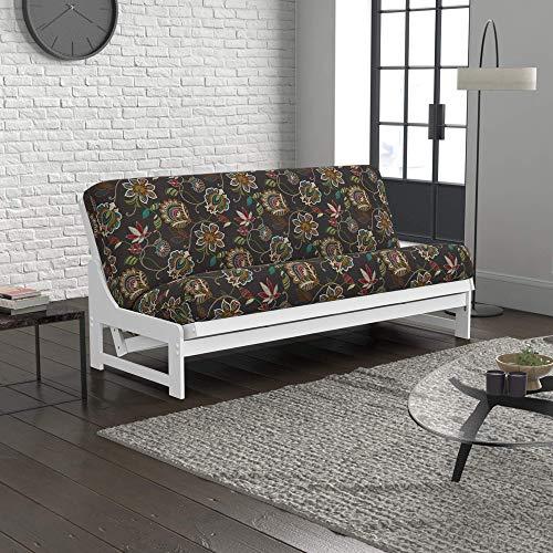 Nico Urban Loft Sleeper Sofa Collection by Nirvana Futons - Queen Size White Armless Arden Futon Frame, Mattress and Matador Grey Futon Cover Set