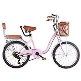 HUOFEIKE City Tandem Biciclette con due selle, leggera Madre Bambino Bicicletta da città per genitori e bambini, comoda da portare fuori il vostro bambino, adatto per escursioni in famiglia, b2