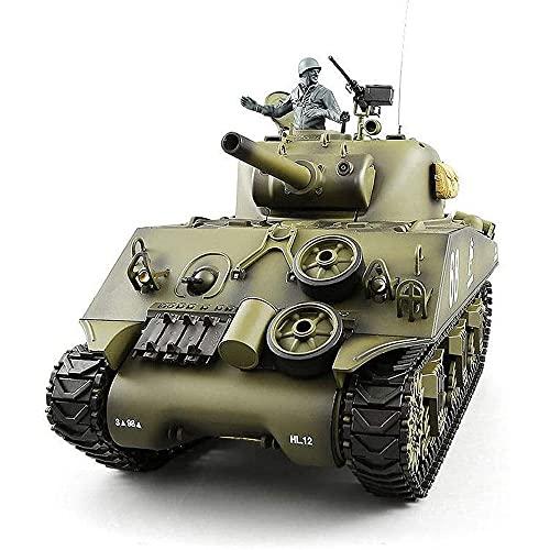 YSKCSRY 1:16 Tanque De Control Remoto Modelo De Vehículo Todoterreno Simulación De Efectos De Sonido Tanque RC Tanque De Control Remoto Estadounidense M4A3 Con Caja De Cambios De Metal, Modelo De Tanq