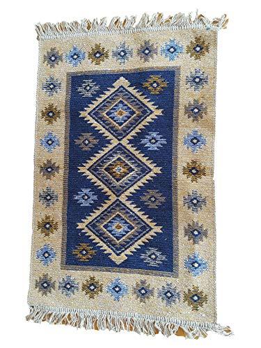 Ablamshop/60 x 90 cm Tappeto Orientale, kelim, Kilim, Carpet, Pavimento, Pavimento, rug Damaskunst Runner, Blu, 60 x 90 cm