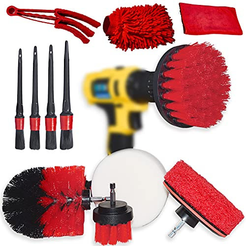 12 Pcs Wheel Brush Kit with 4x Car Detailing Brush and Scrub Brush, Drill Cleaning Brush Attachment, Car Cleaning Tools Kit for Cleaning Wheels, Rims, Tires, Interior, Exterior, Air Vents, Dashboard