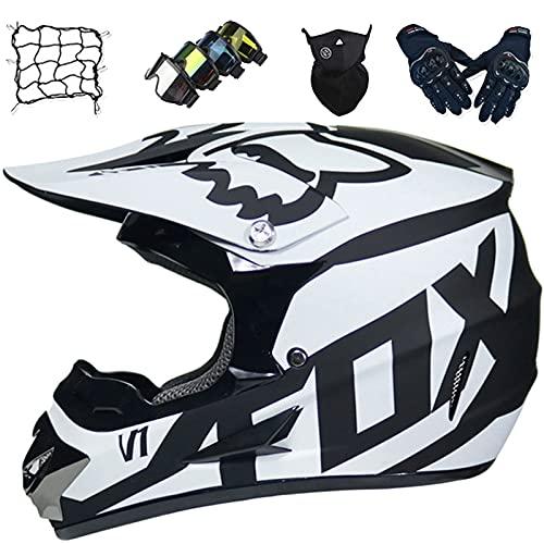 Aidasone Casco Motocross Niños, Casco Moto Jóvenes y Adultos Set (Gafas/Guantes/Máscaras/Red Bungy) Casco MTB Integral para Dirt Quad Bike BMX - con Diseño Fox, Negro Blanco,M