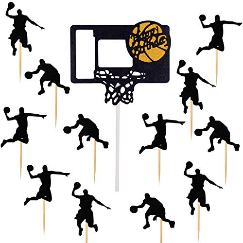 Qibote Basketball Cake Toppers and 12 Pieces Basketball Cupcake Picks for Boy Birthday Basketball Theme Party Decorations Supplies