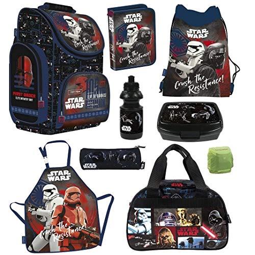 Familando Schulranzen-Set Star Wars 9-TLG. mit Federmappe Sporttasche und Regenschutz Ranzen