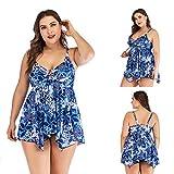AIKES Traje de baño de falda dividida de tallas grandes para mujer con estampado sexy slim Fit/transpirable, Niñas, color Flores, tamaño 52
