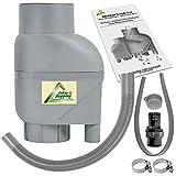 AMUR Fallrohrfilter Regensammler T33 braun/grau - Der Regenwasser-Filter für Regentonnen mit bis zu 95% Wirkungsgrad mit Anschlusszubehör und Universalanschluss für alle Fallrohre 75-110mm (T33 Grau)