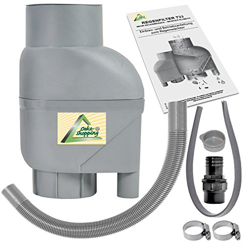 AMUR Fallrohrfilter Regensammler T33 braun/grau - Der Regenwasser-Filter für Regentonnen mit bis zu 95{1b0d2bb4d30b2b5c919149e665cabc9afb326c2158378e8057a481306d41ebdf} Wirkungsgrad mit Anschlusszubehör und Universalanschluss für alle Fallrohre 75-110mm (T33 Grau)