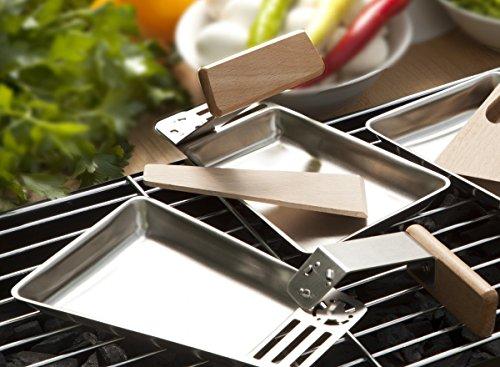 CV 4er Set Grill-Pfannen Edelstahl Raclette-Pfännchen Abnehmbarer Holz-Griff inkl. Holz-Schaber