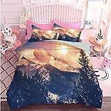 Juego de ropa de cama de 3 piezas montañas en Coloradao brillante sol nevado vista vista impresión (3 piezas, California King Size) juego de edredón con 2 fundas de almohada