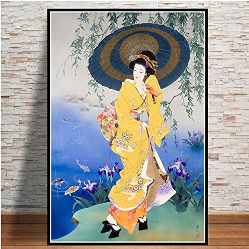 WKAQM Japonés Geisha Mujer Pintura Japón Ukiyoe Póster Grabados Japonés Clásico Mujeres Lienzo Pared Arte Galería Sala de Estar Cuadro Pared Decoración Sin Marco T09