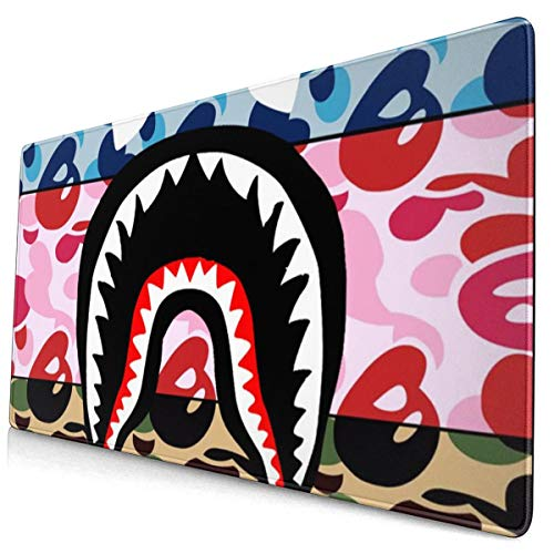 NiYoung Mouse Mat Gaming Mouse Pad Cute Shark Camo Blue Pink Mousepad Mat Non-Slip Rubber Base Waterproof Mousepad for Computer & PC Office Washable Laptop Desk Mat