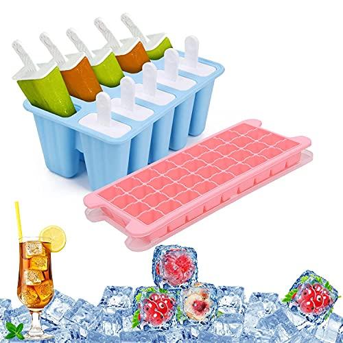 Juego de moldes para paletas, 6 moldes reutilizables para polos de hielo y 36 moldes para cubitos de hielo, gel de sílice flexible y sin BPA, fácil de quitar para preparar deliciosas comidas frías