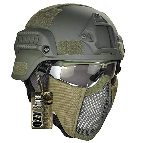 QZY Tactical Military Fast Helm Airsoft Paintball Schutzhelm & Protect Ear 1050D Nylon Doppelriemen Half Face Mesh Maske & Schutzbrille,Green