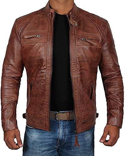 Decrum Brown Vintage Genuine Biker Distressed Leather Jackets For Men | [1100084] Diamond 1 Brown, L