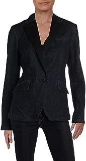 LAUREN RALPH LAUREN Womens Contrast Trim Dressy Denim Jacket