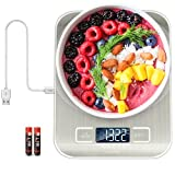 Kiaitre Digital Food Scale – Kitchen Scale with USB Rechargeable, Digital Scale Kitchen with Tare Function, Food Scale with 1g/0.04oz Precise Graduation for Cooking and Baking (Batteries Include)