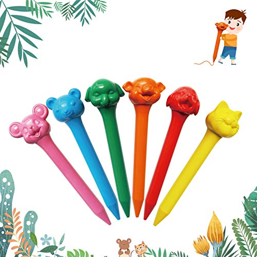 12 Colors Washable Crayons Animal Crayons Set Non-Toxic Crayons for kids, Palm-Grip Crayons, Multicultural Crayons, Natural Wax Crayons for Toddler Kids Children baby Gifts baby Toys