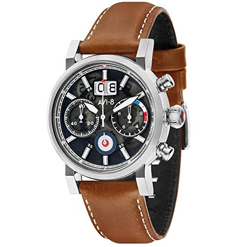 AVI-8 Men's Hawker Hurricane 42mm Brown Leather Band Quartz Watch AV-4062-01