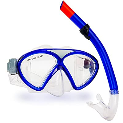 Diving Mask Snorkel Set, Swimming Goggles, Diving Glasses with Tempered Glass, Watertight, Anti-Fog Lens and Good Permeable Gear Bag