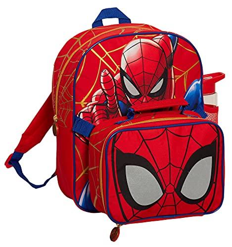 Sac à dos Spiderman avec sac à déjeuner isotherme et bouteille d'eau pour garçon Marvel assorti 3 pièces