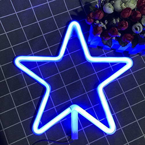 Star Neon Sign Decorative LED Night Light Art Letter Wall Decor for Bar Birthday Party Decor Powered by Battery/USB (Blue)