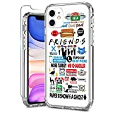 ZADORN iPhone 11 Case with Screen Protector,Clear with Cute Designs for Girls Women,15ft Drop Tested Protective Phone Case for iPhone 11 6.1 inch 2019 Friends