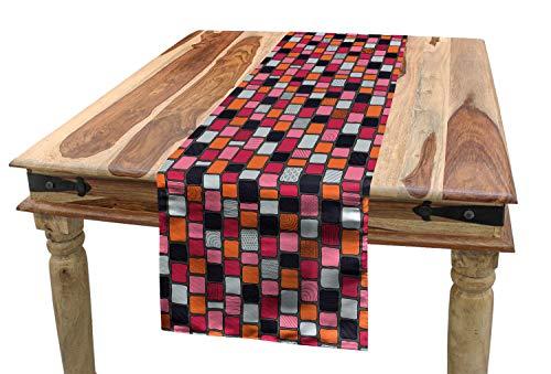 ABAKUHAUS Pflasterstein Tischläufer, Patchwork Bricks, Esszimmer Küche Rechteckiger Dekorativer Tischläufer, 40 x 300 cm, Mehrfarbig