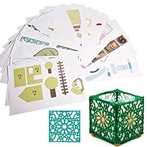 20pcs papel de dibujo de la impresora 3D, moldes de papel de la plantilla de dibujo para la pluma de la impresión 3D con 40 patrones de dibujos animados embroma el regalo de DIY