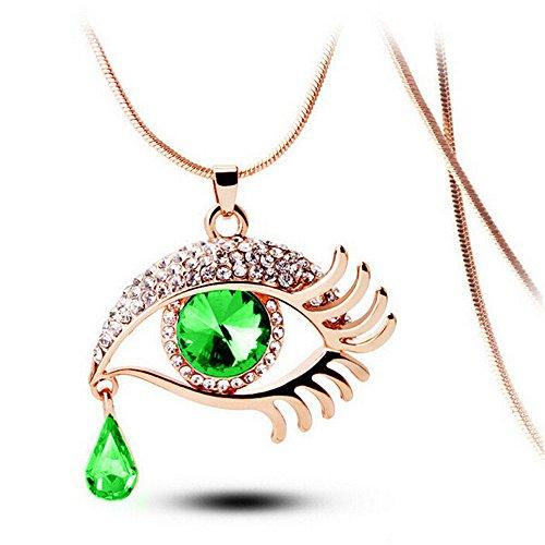 Kette Damen,LUCKDE Statement Halskette Pendant Necklace Modeschmuck Eye Crystal Tear Drop Wimpern Halskette Lange Strickjacke-Kette (C)