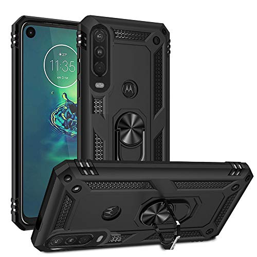 Moto One Action / P40 Power Case for Motorola, Armor Protection Oleophobic [ 360 ° Rotating Ring Kickstand] [Dual Shockproof] Cover Compatible with [Magnetic Car Mount] (One Action, Black)
