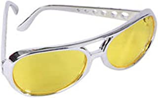 Yellow Lens Silver Frame Elvis Aviator Rocker Glasses
