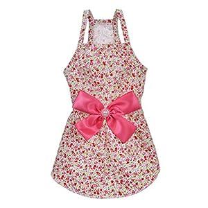 MSNFOASM Elegant Floral Puppy Dog Dress, Sundress Vest Shirt for Small Dogs Cats (Floret Pink,XS)