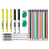 BIC Kit de estudiante, varios elementos esenciales de escritura escolar, 23 unidades – Incluye bolígrafos de bola, lápices mecánicos, borradores, resaltadores, marcadores de borrado en seco