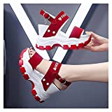 JinHongShop Plataforma Sandalias Mujeres 2021 Nuevo Verano Chunky Tacones Altos Hembra Cuñas Zapatos para Mujeres Pescado Toe Red Sandalia Feminina HHQIYUAN (Color : Red, Shoe Size : 7)