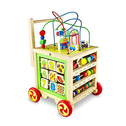 Zidao Wooden Baby Toy,Children's Toy Walker Games Baby Walker Gifts for Children from 1 Year Girl Boycube Toy for Children Educational for Toddlers,Multi Colored