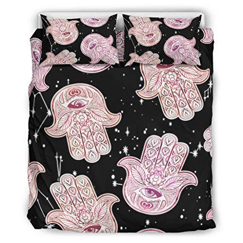 WellWellWell Juego de ropa de cama Hamsa, 3 piezas, tejido de poliéster, juego de cama sencillo, 3 piezas, con cremallera, incluye 1 funda nórdica y 2 fundas de almohada, color blanco, 168 x 229 cm