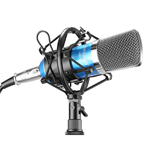 Neewer NW-700 Studio Condenser Microphone Set Including: NW-700 Condenser Microphone, Metal Microphone Shock Mount, Ball-type Foam Cap, Audio Cable for Broadcasting Voice Recording