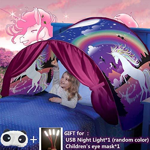 Bettzelt,Einhorn Traumzelt, Drinnen Kinder, Kid's Fantasy, Kinder Schlafzimmer Dekoration,Geschenke für Kinder