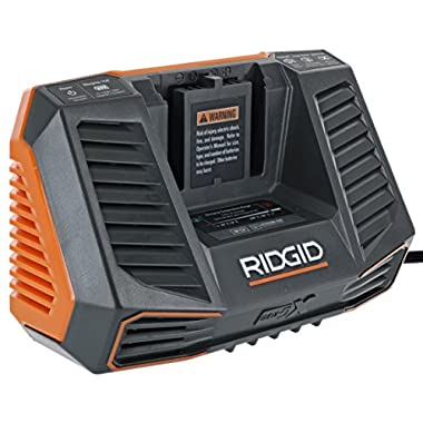 Ridgid R840095 Gen5X Genuine OEM Dual Chemistry Battery Charger for 18V lithium ion or NiCad batteries with Temperature Monitoring and Energy Saving (Battery Not Included, Charger Only)