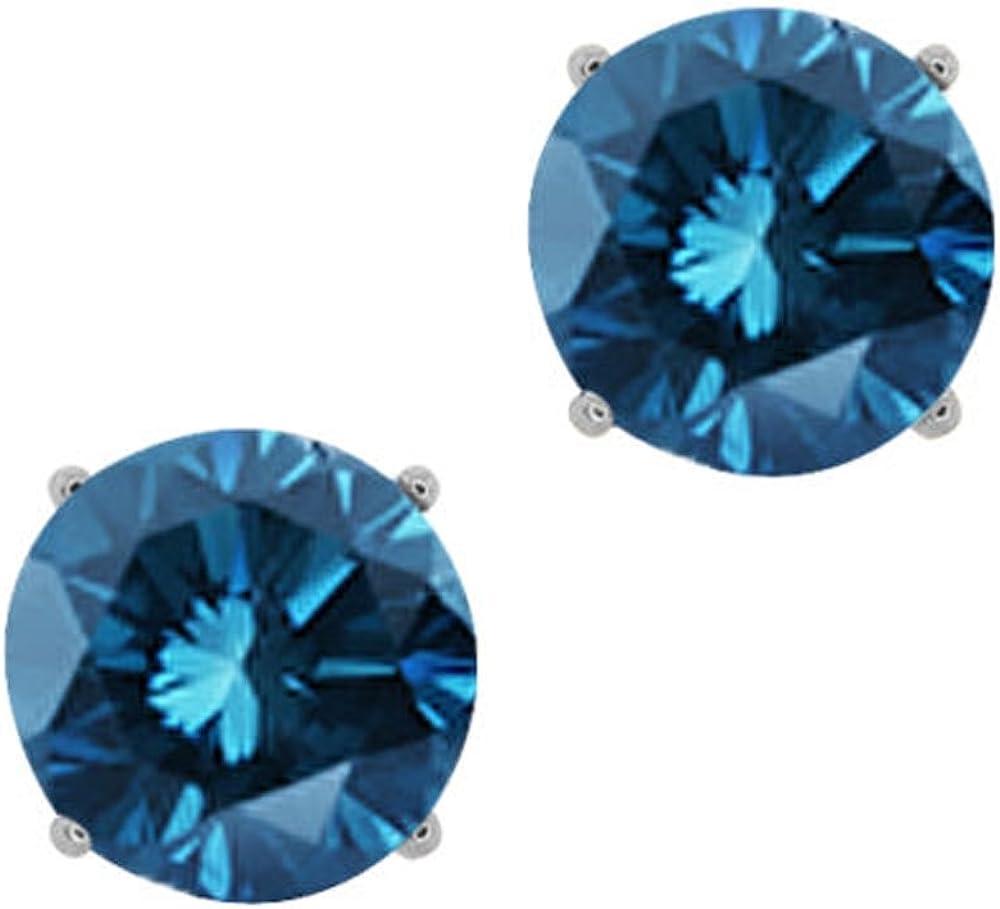 1/2cttw Blue Diamond Round Stud Earrings 14k in White Gold (I1-I2)