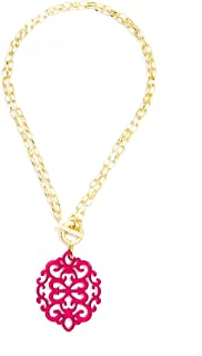 Modern Damask Acrylic Resin Pendant Necklace with Convertible Toggle Chain