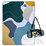 Exclusivo Mezcla Waterproof Picnic Blankets 3-Layer 60x80 Inches Large Sandproof Beach Blanket Foldable Outdoor Blanket for Camping on Grass Picnic Mat with 4 Windproof Stakes, Abstract Green