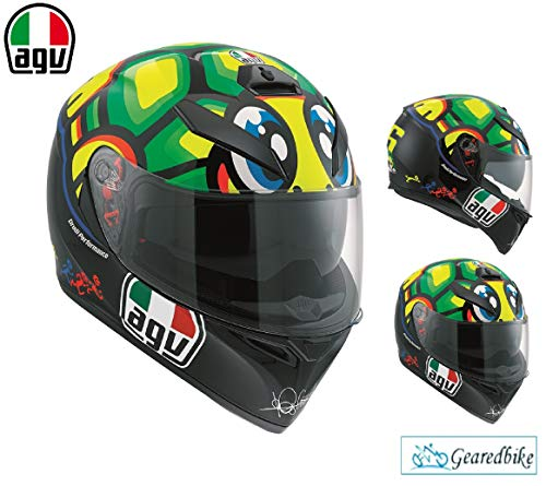 AGV K3 SV ROSSI TARTARUGA Casco de moto de cara completa para adultos, deportes, carreras, turismo, crash ACU ECE aprobado