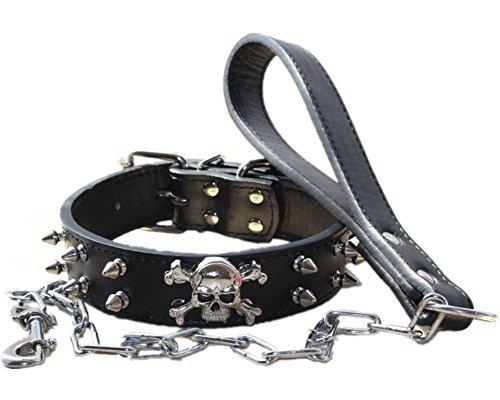 haoyueer Juego de collar de cadena de cuero con tachuelas de 3 cm de ancho para perro de tamaño mediano y grande Pitbull Husky Mastín Terrier (L, negro)
