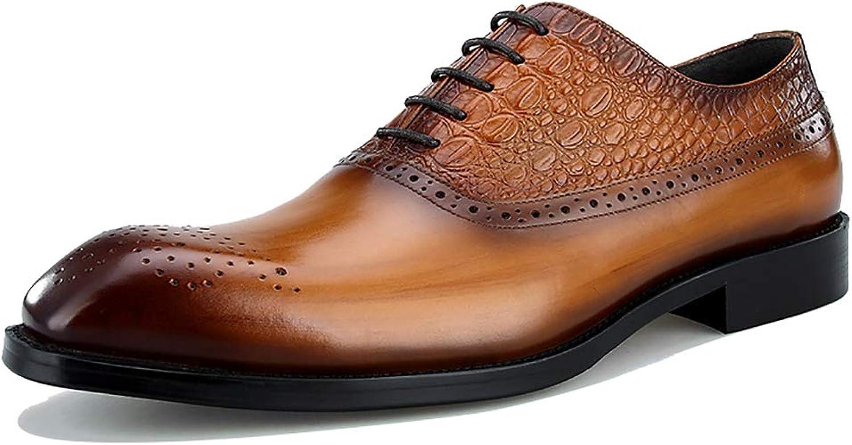 Casual Oxford Schuhe Herrenmode Bussiness Formelle Kleidung Schuhe Krokoprgung Leder Klassische Schnürschuhe