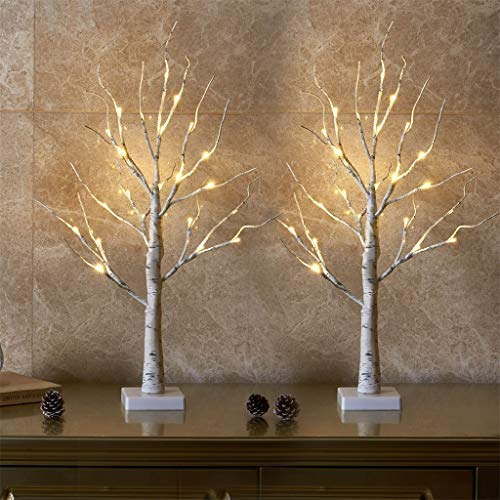 Vanthylit 2FT 24LT Pre-lit White Birch Tree Decorative Light Tabletop-Set of 2
