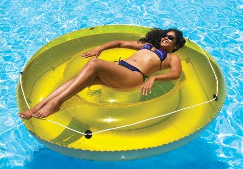 "Swimline 9050 - 72"" Swimming Pool SunTan Island Inflatable Lounger,Yellow and grey"