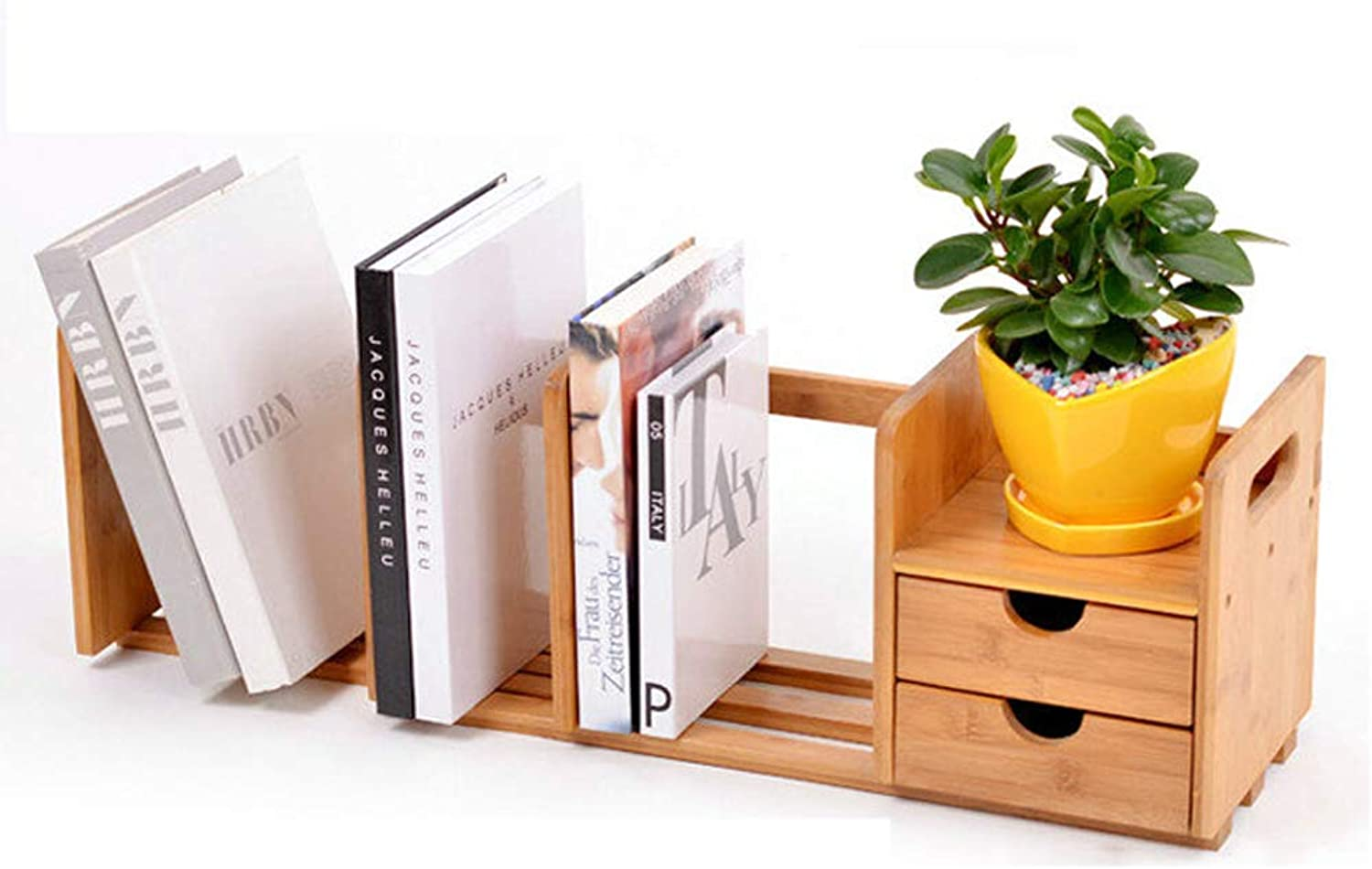 Desktop Bookshelf Office Desk File Holder, Bamboo Storage Rack Student Table Creative Rack, Telescopic Double Pumping Table Bookshelf