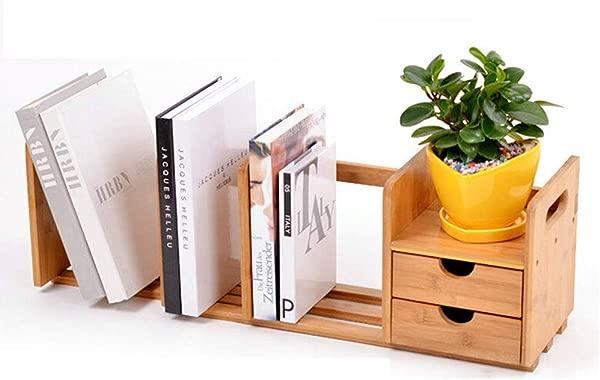 Standing Bookshelves Desktop Bookshelf Office Desk File Holder Bamboo Storage Rack Student Table Creative Rack Telescopic Double Pumping Table Bookshelf Bookcases